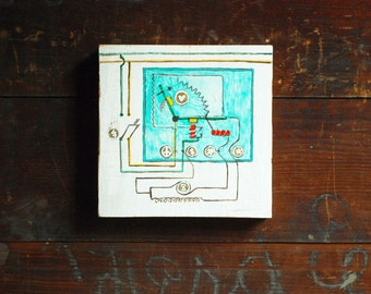 Life Circuit #1, Painting on Reclaimed Wood, Whimsical Engineering Art
