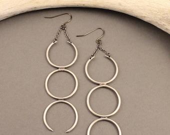 Silver Sky sterling silver crescent moon earrings