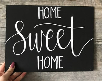 Home Sweet Home | Black Canvas Sign