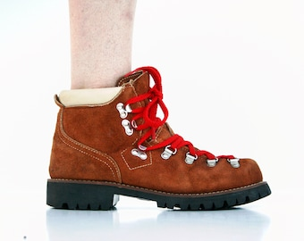 Size 7.5: 80s Vintage RARE Scats by Gallenkamp Brown Suede with Signature Red Laces Woman's Retro Hiking Boots