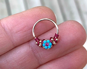 Gypsy Turquoise Rose Gold Daith Earring Rook Piercing Hoop