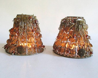 Beaded Lamp Shades, Vintage Pair, 2, Lampshades Seed Beads And Discs