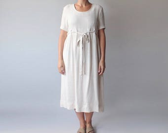 flax midi dress | oatmeal natural check dress | 1990s medium
