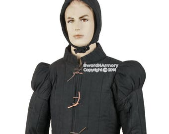 Black Large Gambeson Type 7 Medieval Padded Overcoat Arming Jacket