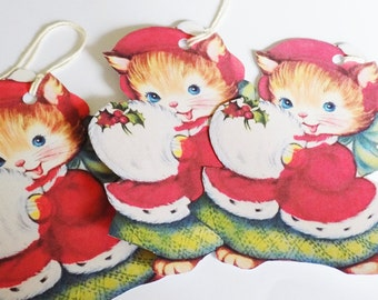Ginger Kitty Tags - Christmas Kitty - Set of 3 - Red Green Cat - Retro Xmas Cat - Mid Century Cat - Red Hat Cat - Holiday Cat - Pet Tags