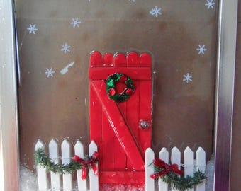 Red Door with Wreath