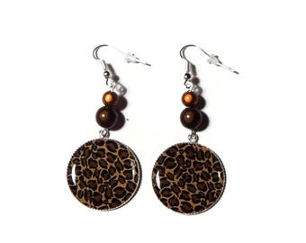 Earrings cabochon leopard Brown and beige/gift