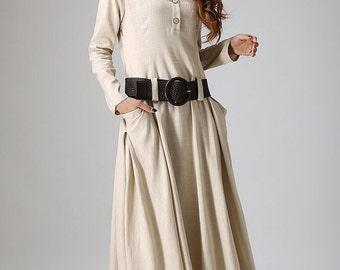 cream dress, linen dress, maxi dress with irregular hemline, long sleeves dress, fall dress, casual dress with two big side pockets  (889)