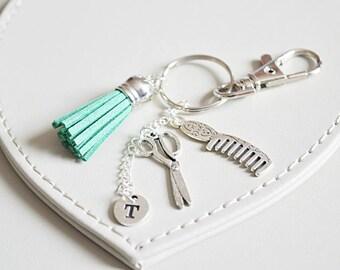 Hairdresser gift, tassel keyring, hairdresser accesorries, hairdresser keyring, comb scissors personalised gift, tassel bag tag, keychain