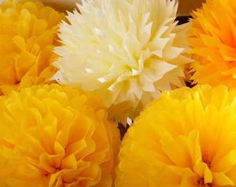 Tissue Paper Pom Poms - Set of 16 - Weddings//Parties Decor//Ceremony//Decorations//Receptions