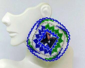 Blue, Green and White bursting jewel earrings