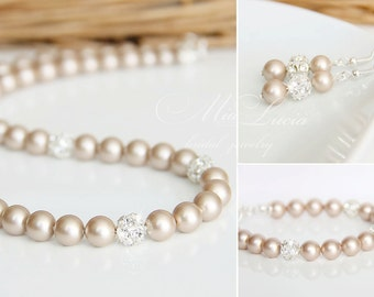 Champagne Wedding Jewelry Set, Champagne Pearl Bridal Jewelry Set, Almond Bridal Jewellery set, Bridal Necklace set pearls art. e02-b04-n01