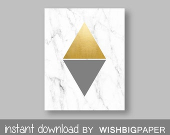 Gold Grey Marble Modern Triangle Printable Wall Art Print-Instant Download.Gold Triangle Art. Gold Grey Triangle Print.Gold Art