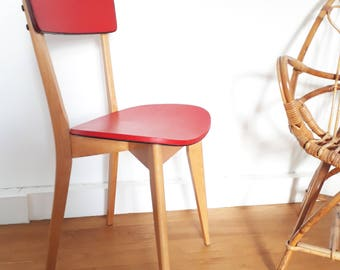 Vintage chair design mid century style Scandinavian red leatherette