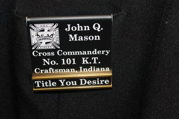 Commandery Officer or Members over the pocket Badge with interchangeable title slide bar