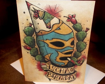 Lucha Libre Birthday Card Mexican Traditional Tattoo Style Art Blank inside 5x7 By Agorables Old School Wrestler in Mask