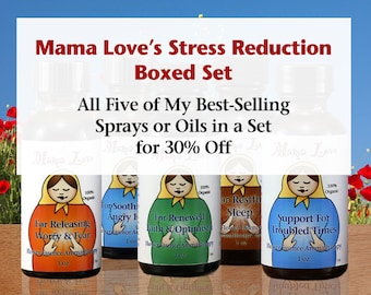 Stress Reduction Boxed Set, Flower Essence Aromatherapy Oils or Sprays at Discount, Organic Reiki-Infused, Gift Set