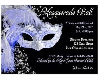 Masquerade Invitation Printable or Printed with FREE SHIPPING - ANY Wording - Carnival, Masquerade, Ball, Mardi Gras Party