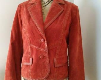 Vintage Pamela McCoy Rust Suede Jacket. Cute Suede and Leather Women's Jacket. Suede Designer Jacket. Hippie Rust Suede Jacket.(SALE SALE)