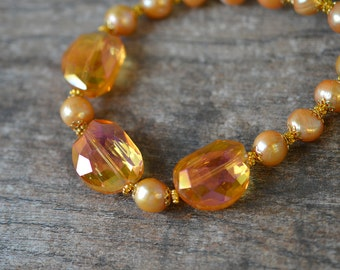 Sophisticated Pearl Choker Apricot baroque pearl necklace Statement cultured freshwater pearl choker Orange chunky glass beads