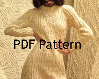 Fishermen Knit Women's Dress Pattern, Sizes 10 to 18, Classic Vintage 1972, Digital Download, PDF Instant