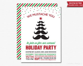 We Mustache You Holiday Party Invitation Printable Christmas Party Invite Digital Moustache With Coordinating Liner Christmas Invitation