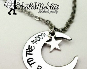 Fly Me To The Moon Necklace, Moon Jewelry, Moon and Star Necklace, Luna y Estrella, Cute Moon Necklace, Moon Necklace, Stamped Necklace