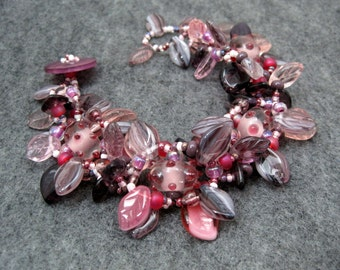 Beaded Bracelet - The Leaf Series - Purple Pink by randomcreative on Etsy