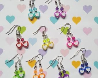 Heart earrings, Beaded heart earrings, Dangle earrings, Heart, Hearts, Love, Bright earrings, Fun earrings, Gifts for her, Gifts for girls