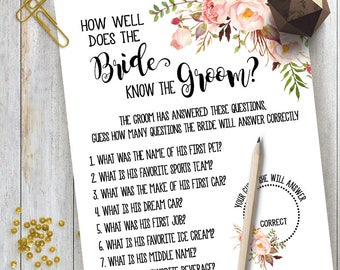 How Well Does the Bride Know the Groom game Bridal Shower game printable Wedding shower party game rustic game Instant download 11 G101