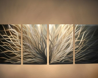 Metal Art Wall Art Decor Aluminum Abstract Contemporary Modern Sculpture  Hanging Zen Textured   Radiance Silver