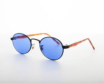 Oval Colored Lens Vintage Metal Combo Sunglass -Hipster