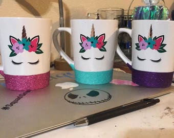 Glitter dipped coffee cup with decal