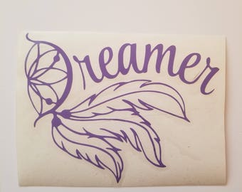 Dreamer/dream catcher/ dream catcher decal/ cup/car/tumbler/ stocking/ dream/ catcher/ peace/ present/ hippie / decals