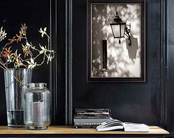 Large Black and white wall art, old Lantern photography, oversized art vertical print, living room decor, 16x24, 20x30, 24x36, bw art poster