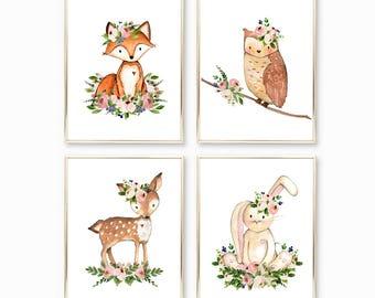 Woodland Nursery. Blush Nursery Decor. Kids Room Decor. Children's Room Decor. Printable Art. Home Decor. Baby Shower Decor. Baby Gift. 8x10