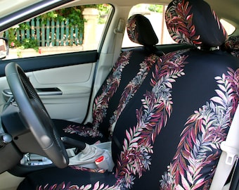 Car Seat Covers Colored Leaves On Black Background 4 Piece Set For Front