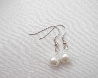 Custom order white pearl earrings