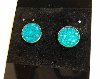 Light blue jeweled chunky earrings