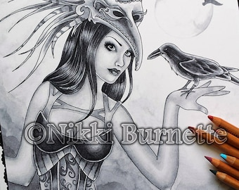 Adult Coloring Page - Grayscale Coloring Page Pack - Printable Coloring Page - Digital Download - Fantasy Art - RAYNE - by Nikki Burnette