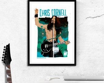 Chris Cornell Guitar Grunge art print/sound garden grunge music/audiosoave Rock Alternative poster band