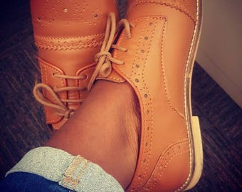 Women's Leather Shoe/ Oxford Leather Shoes/ Oxford Shoes/ Closed Shoes/ Handmade Shoes/ Women's Brogue Shoes