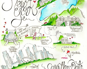 Upstate New York Wedding Map/ Albany/ Wedding Map/ Custom New York Invitation