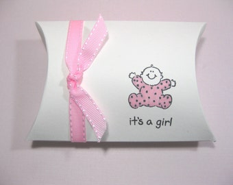 10 Baby Shower Favor Boxes - Baby Girl - It's a Girl - Pillow Boxes - Candy Boxes - Gift Boxes - Favor Boxes - New Baby