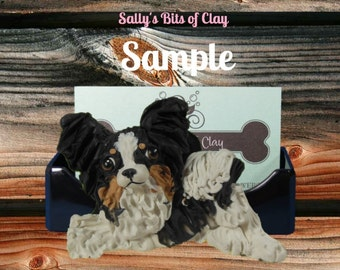 Tri Colored Papillon dog Business Card Holder / Iphone / Cell phone / Post it Notes OOAK sculpture by Sally's Bits of Clay