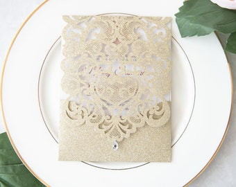 Glitter Invitations - DIY Invitations - Pocket ONLY - Invitation Paper - DIY Wedding Invite - Laser Cut Invitation - Pocket Invitations - 50