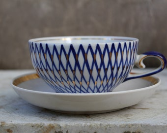Soviet Vintage Mismatched Tea Cup and Saucer, Russian White Cup with Hand Painted Cobalt Blue and Gold Decoration. Made in USSR