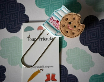 Cookies and Milk Planner Clip, Book Mark, Planner Paper Clip, Calendar Paper Clip, Planner Accessories, Planner Clip