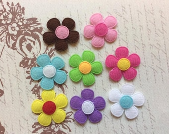 SET of 20 Assortment Of Colorful Padded Felt Flower Appliques/trim/ hair bow/diy/embellishments/doll clothes/cards