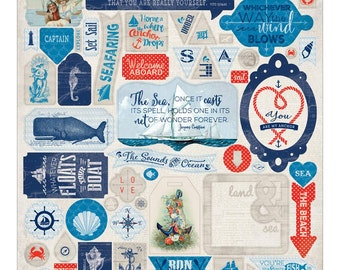 "Authentique | Seafarer | Cardstock Stickers 12""X12"""